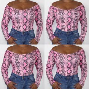 Pink snake print off shoulder long sleeve bodysuit
